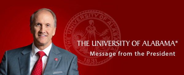 Dr. Bell on red background with seal and Message from President text