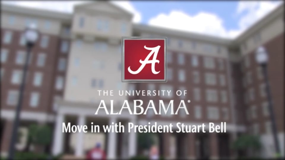 Blurry view of a dorm with UA logo and text of Move in with President Bell overlayed