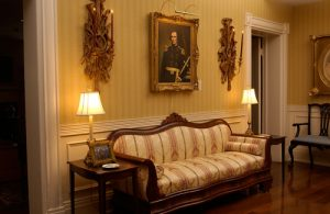 President's Mansion downstairs sofa